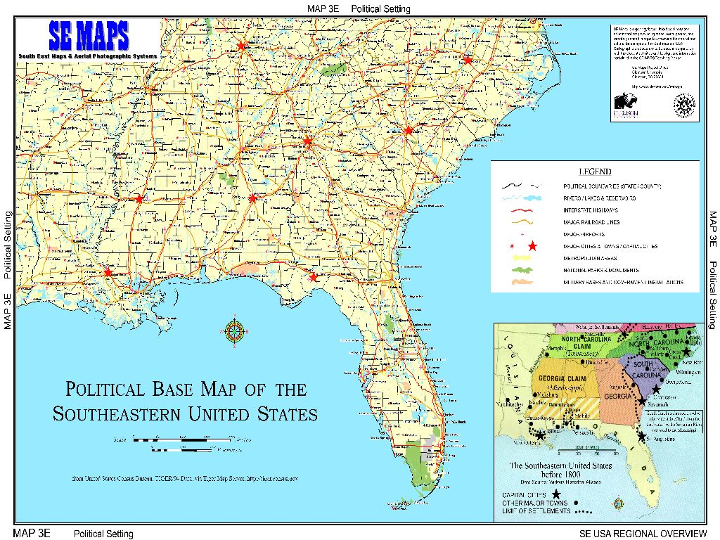 map of southern united states region