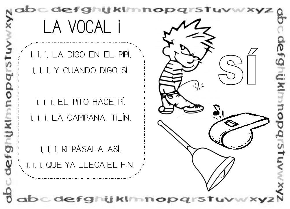 Poesia De Las Vocales: Mi Grimorio Escolar: CANCIÓN DE LA VOCAL I