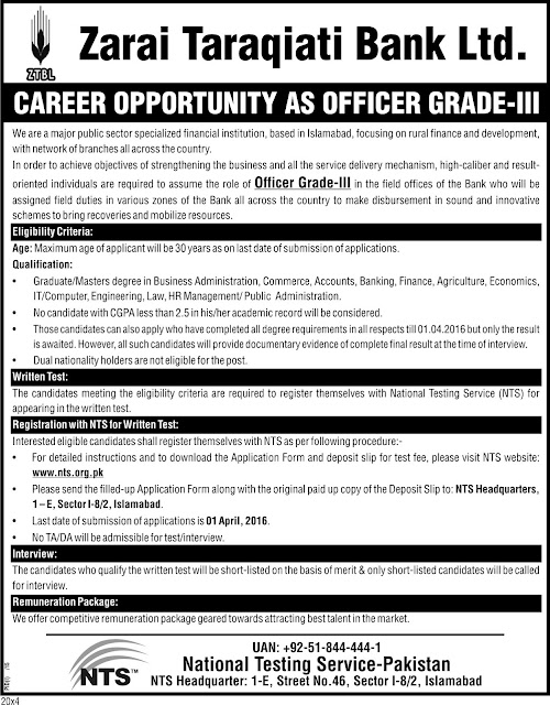 OG III Jobs in Zarai Taraqiati Bank Ltd.