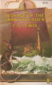 Cover of The Voyage of the Dawn Treader. A large, sword-wielding mouse perches along the bottom of a frame. He wears a feather-bedecked gold ring looped around one ear. Behind him is a green ship with a golden dragon's head at its prow and a red mainsail. It crashes through stormy, greenish seas.