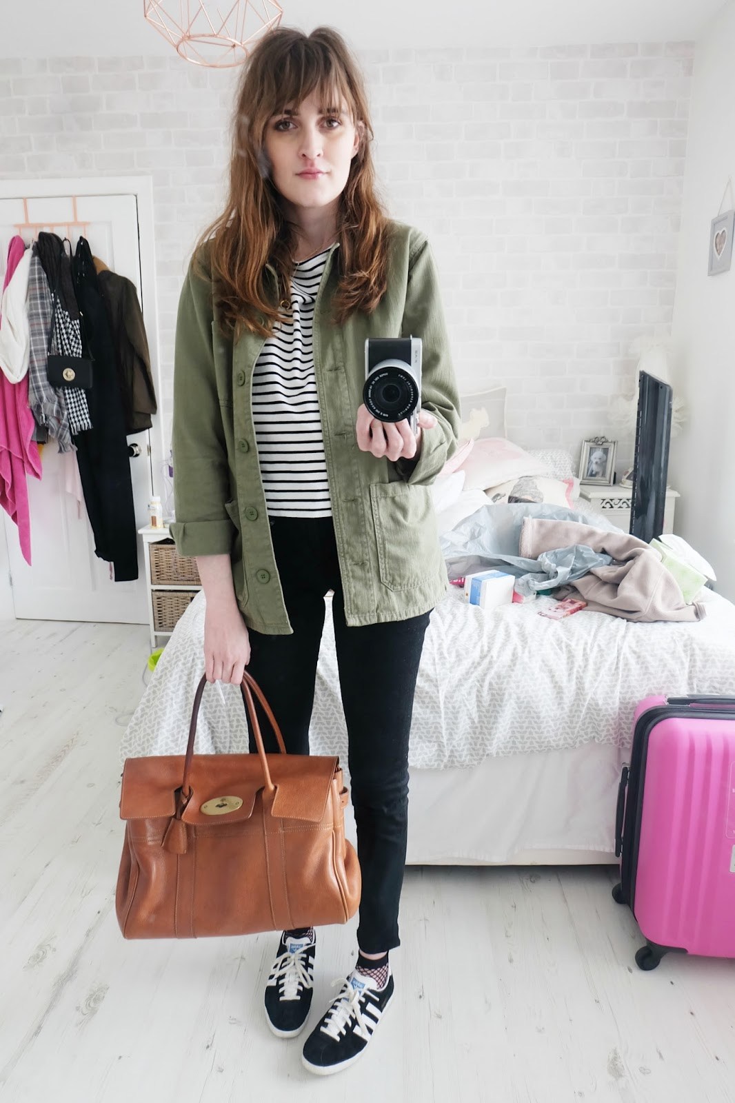 mulberry bayswater, topshop shacket, j brand verity jeans, fishnet socks, adidas gazelles