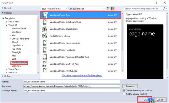 Create Windows Phone Project