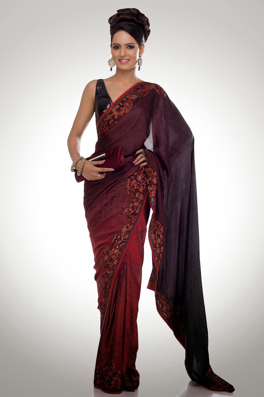 Indian Desi Females In Saree Full Hd  Photo Chocolate-1927