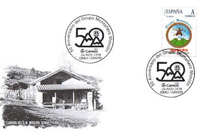 Sobre del matasellos del  50 aniversario del Grupo de montaña Moscón de Grado