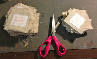 trimming drop cloth pocket with pinking shears