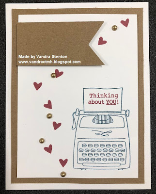 B1631, Colour Dare Challenge, color dare, #CTMHVandra, peacock, Kraft, Ruby, Gold, thinking of you, typewriter, hearts, banner, cardmaking, stamping, Challenge,