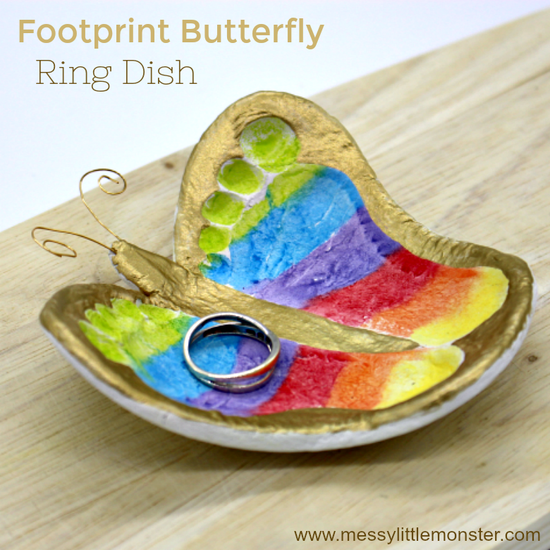 Make a clay footprint ring dish as a handmade keepsake craft or gift to treasure a baby or toddlers little prints forever. Learn how to make a diy butterfly clay bowl from air dry clay.