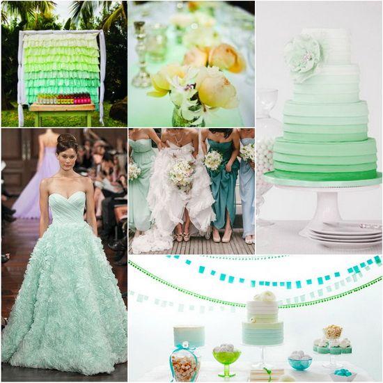 Decoração de casamento em tons de verde