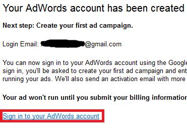 akun adwords anda sudah selesai