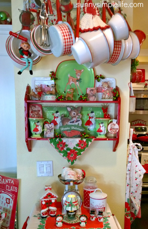 Christmas deer, red and white enamelware