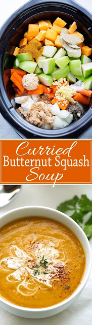 CURRIED BUTTERNUT SQUASH SOUP (SLOW COOKER