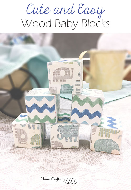 cute and easy step by step tutorial to make decorated wood baby blocks