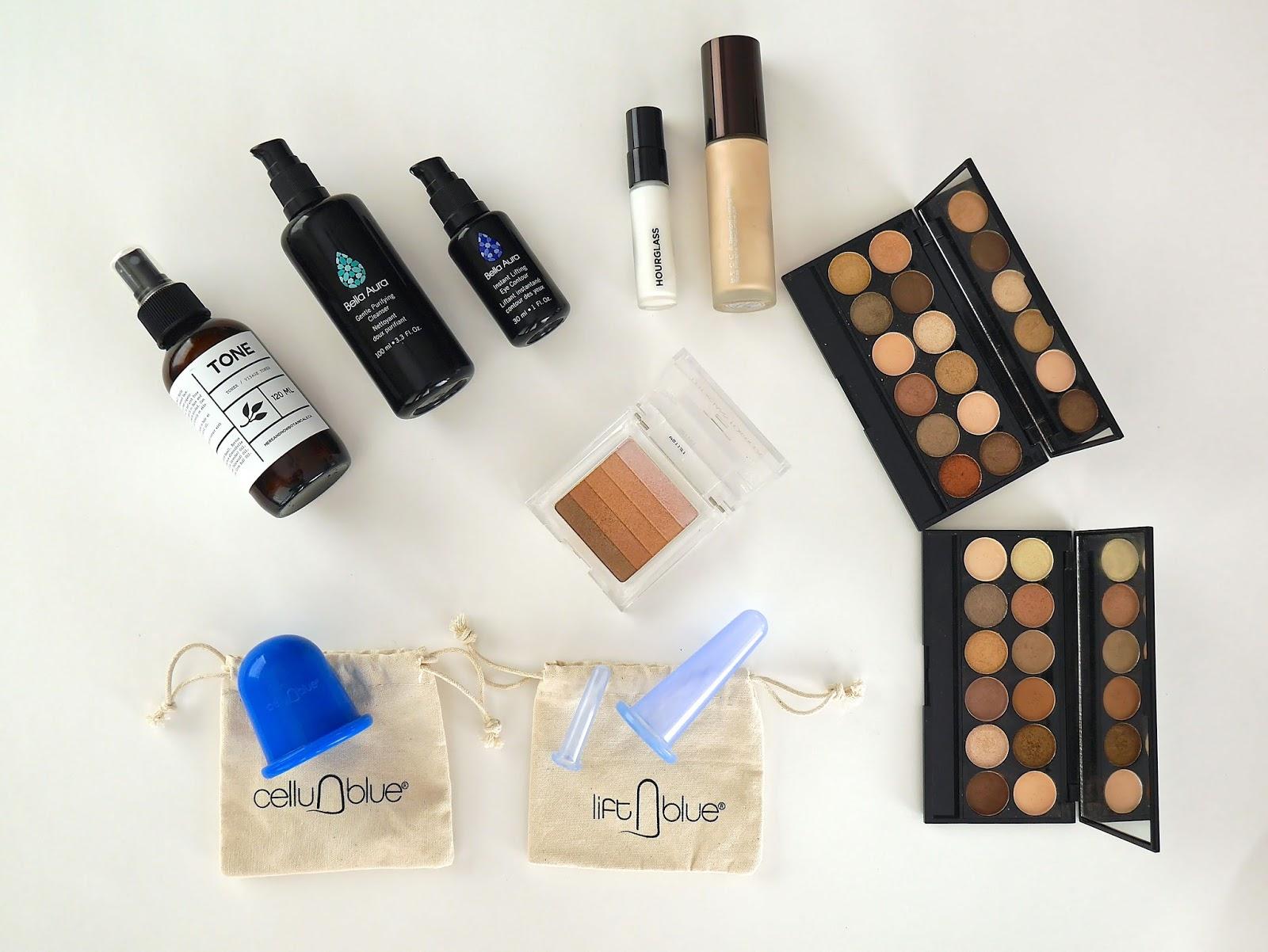 beauty, favourites, skincare, natural skincare, highlighter, primer, moisturizer, eye cream, eyeshadow primer, eyeshadow palette, anti-aging, anti-cellulite