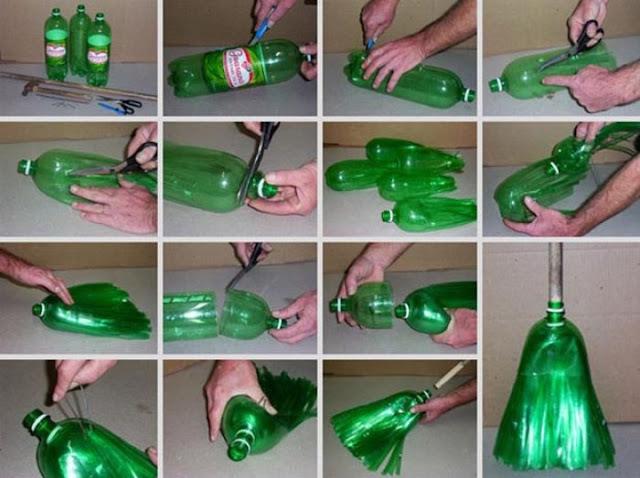 escoba con botellas de plastico