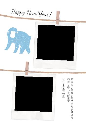 吊るされたポラロイドカメラと猿のガーリーな年賀状 写真フレーム