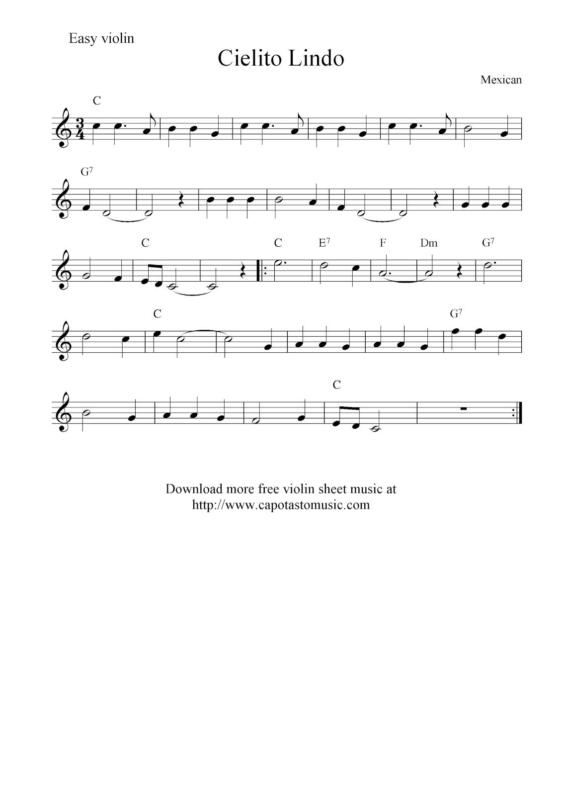 Free Sheet Music Easy Violin