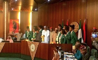President Buhari Receives New African Champions D'Tigress In Abuja (Photos)