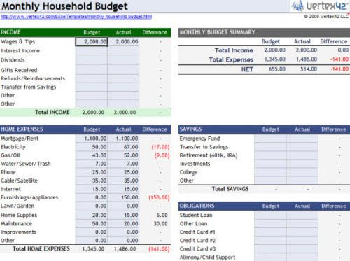 simple excel budget