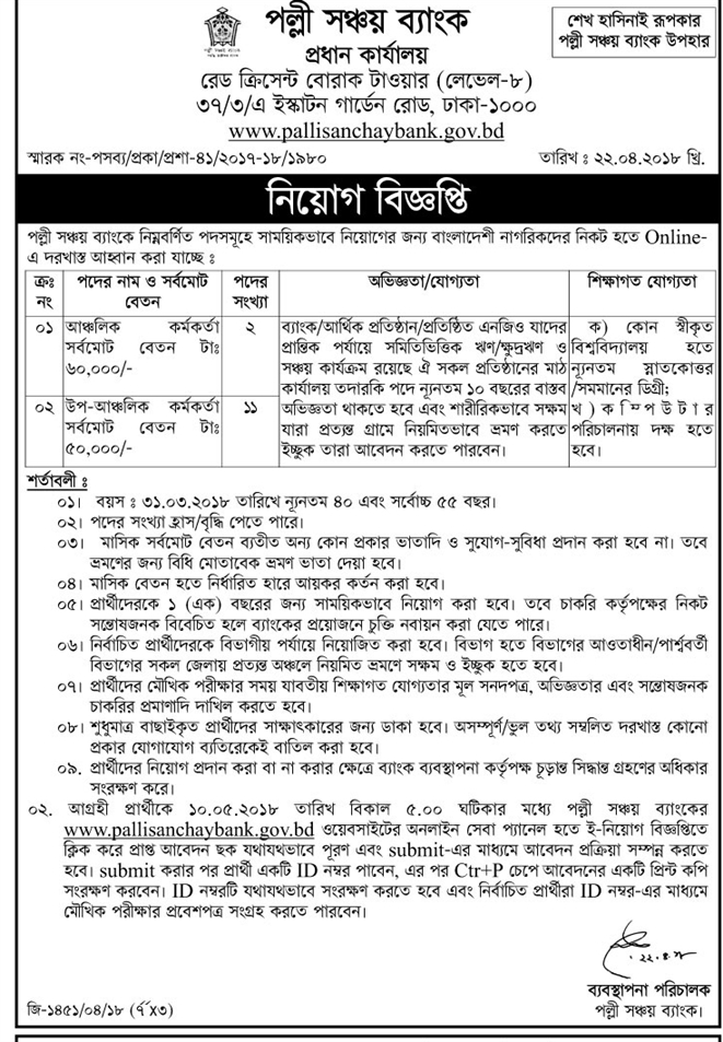 Palli Sanchay Bank (PSB) Job Circular 2018