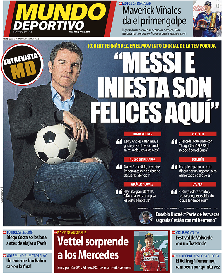 """Verratti Desatasca A Un Psg Muy Directo: Roberto Fernández, Mundo Deportivo: """"Messi E Iniesta Son"""