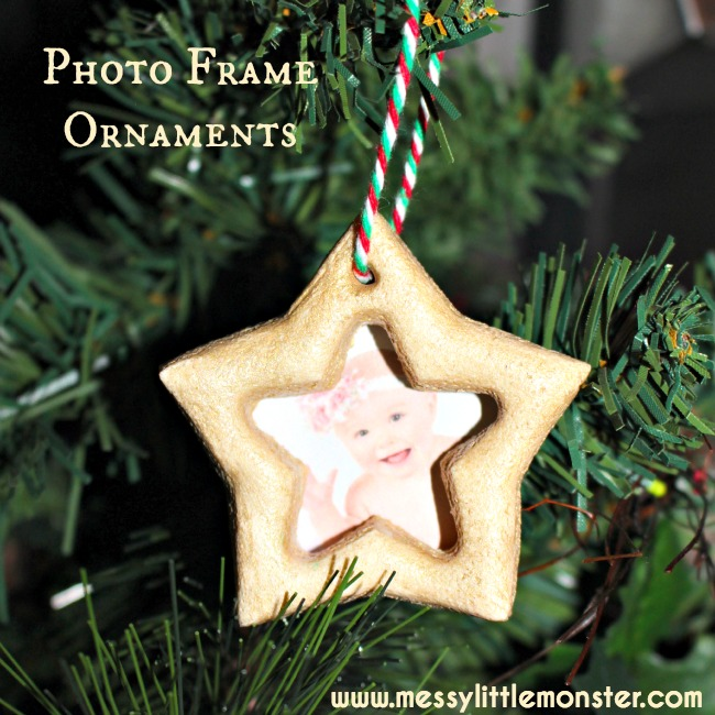 salt dough star photo frame Christmas ornament.  Kid made keepsake/ gift that is simple enough for toddlers and preschoolers