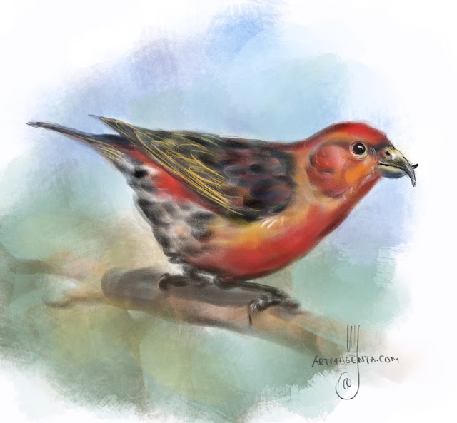 Red crossbill Bird painting by Artmagenta
