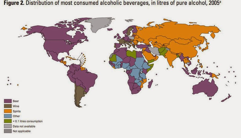 40 Maps That Will Help You Make Sense of the World - Map of Alcoholic Drink Popularity by Country