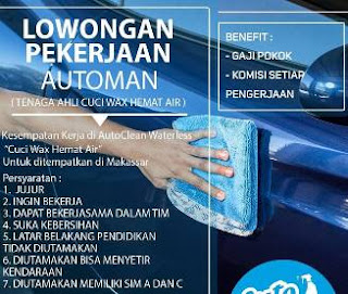 Lowongan Kerja Automan di AutoClean Waterless Makassar