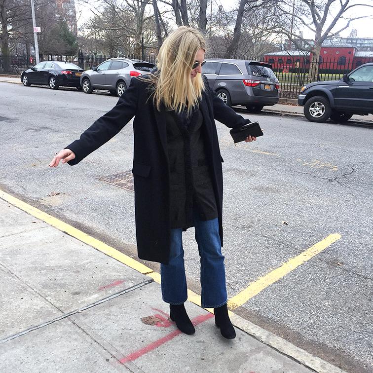 Zady wool coat, Free People boots, Monki jeans, Miu Miu wallet, Ray-Ban sunglasses, Lanvin cardigan