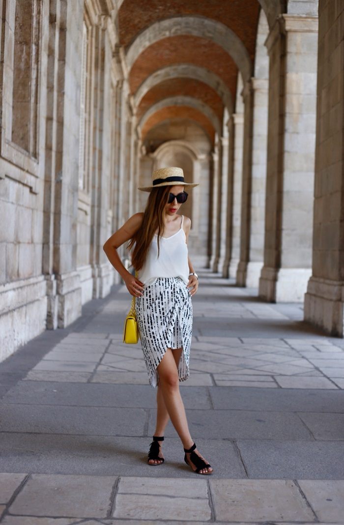 state of being ink spot skirt, lack of color straw hat, tory burch bag, sole society koa sandals, fringe sandals, asos cami, karen walker super duper sunglasses, madrid, palacio real, fashion blog