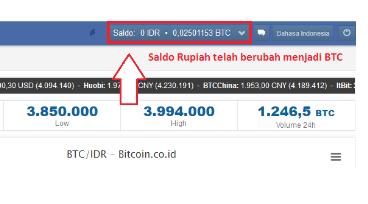 Saldo berubah ke BTC (bitcoin)