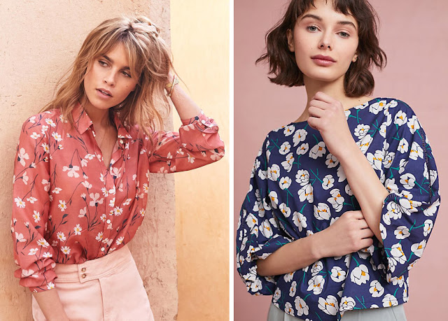 Блондинка и шатенка в блузках с цветочным принтом с низким и средним контрастом