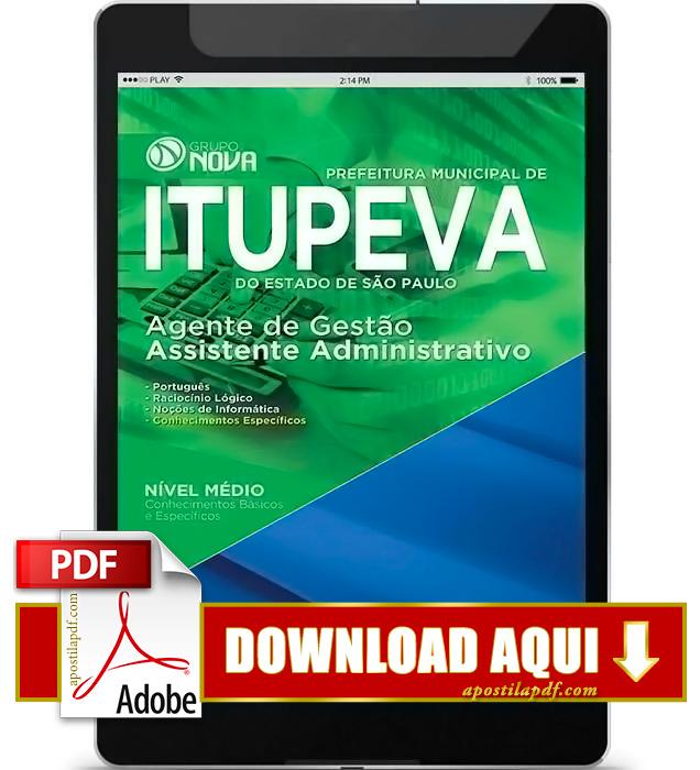 Apostila Prefeitura de Itupeva 2016 PDF Download Assistente Administrativo