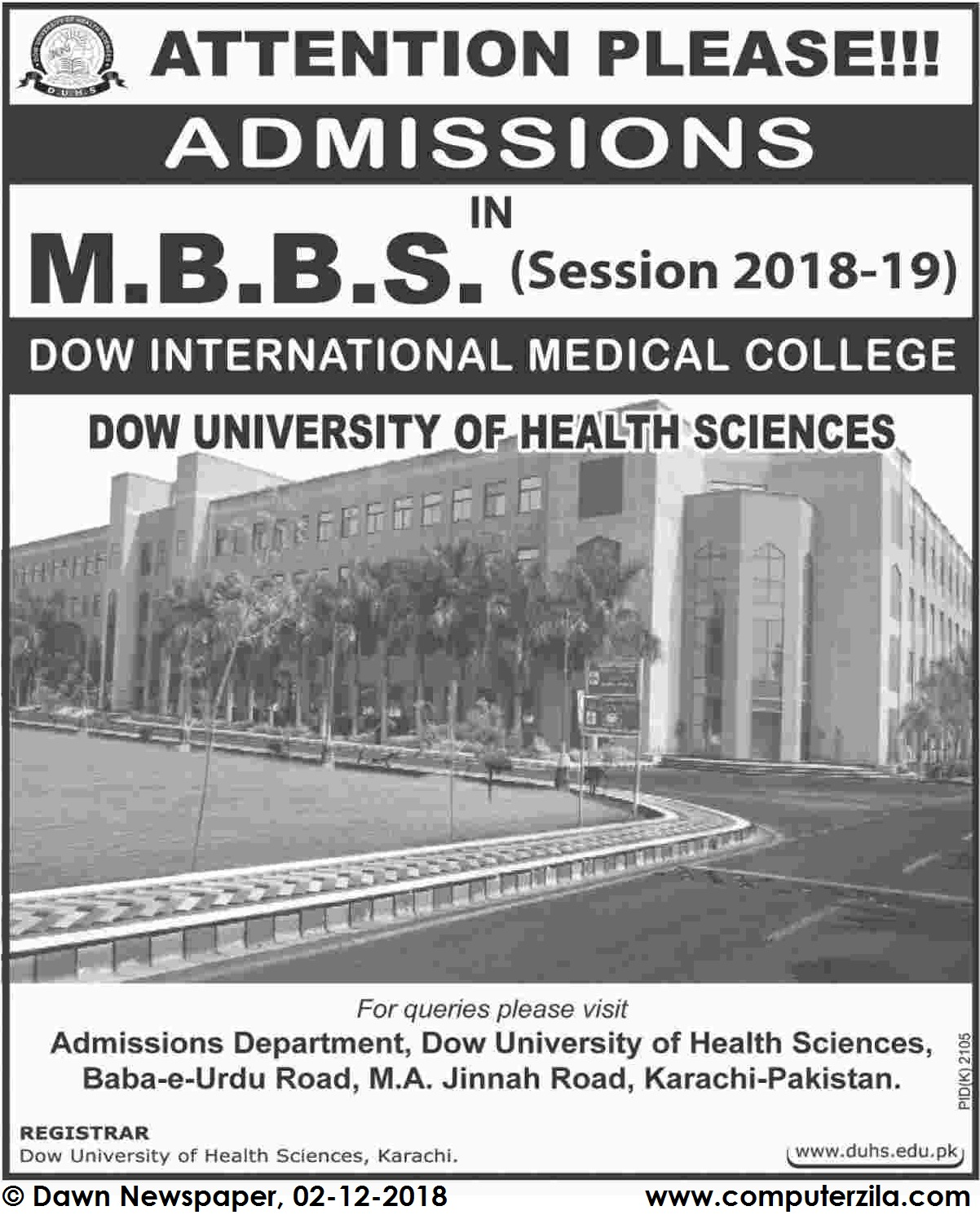 Admissions Open For Spring 2019 At DUHS undefined Campus