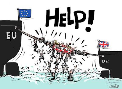 EU vaart naar links, UK vaart naar rechts, uit de gezamenlijke reddingsboie vallen mensen in het water