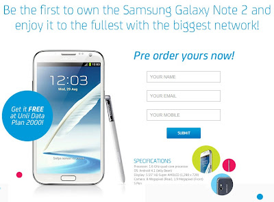 Samsung Galaxy Note II Smart Pre-order