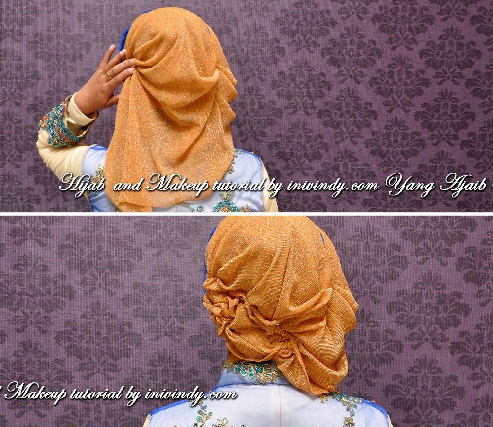 Jilbab Kebaya Wisuda Dua Warna Dengan Kreasi Jilbab Pashmina Glitter