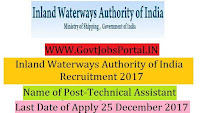 Inland Waterways Authority of India Recruitment 2017– Technical Assistant