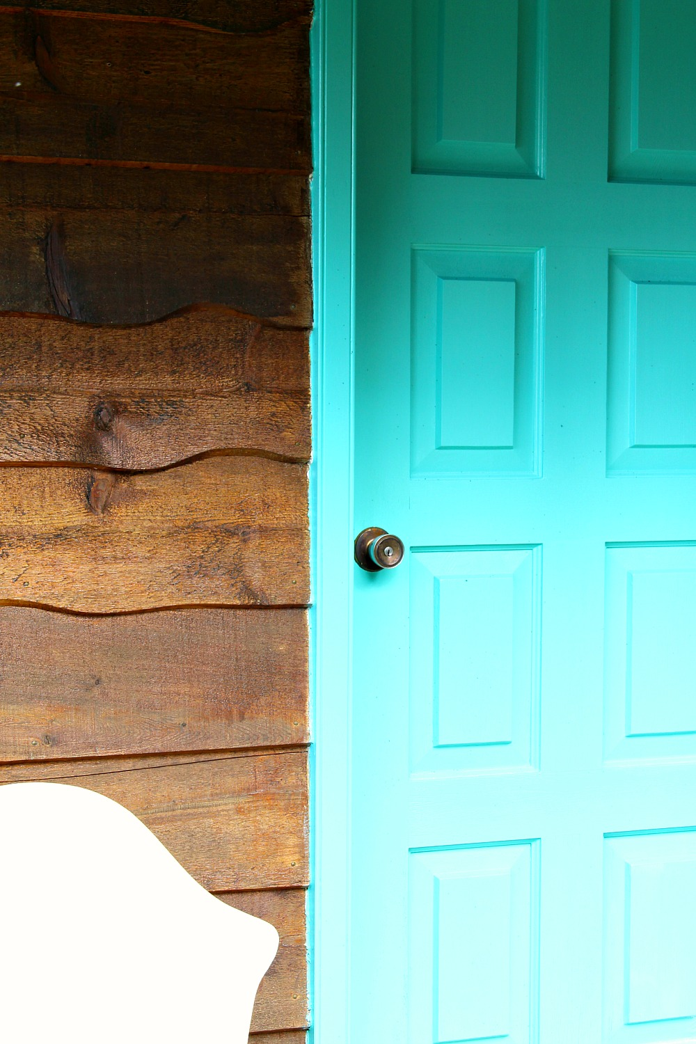 Bright Turquoise Front Door Trim For The Guesthouse