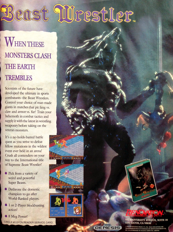 Beast Wrestler for Genesis advertisement