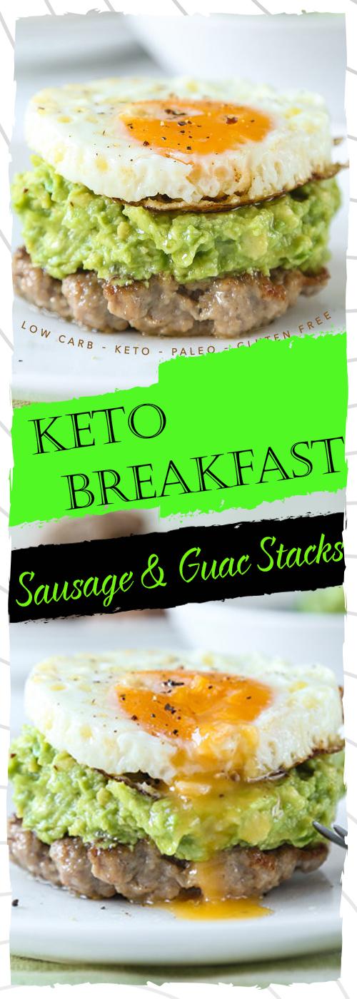 Keto Breakfast Sausage & Guac Stacks Recipe