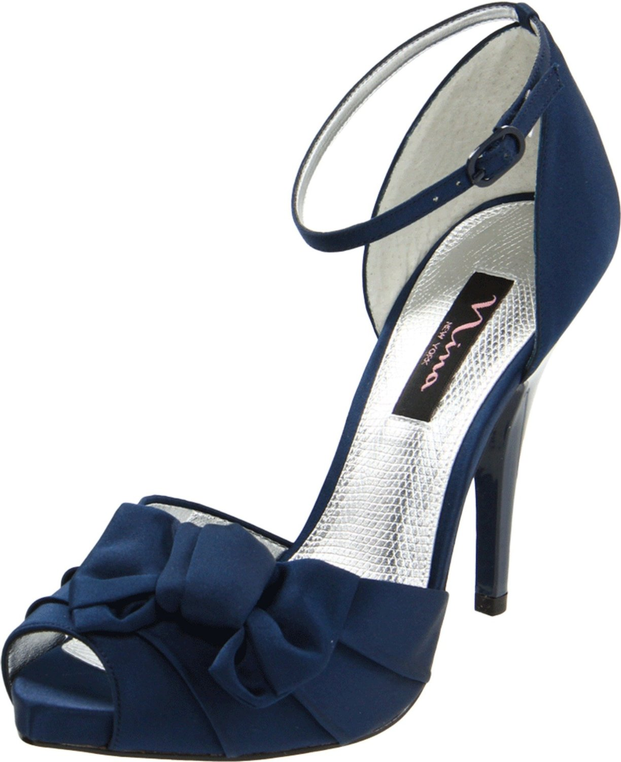 Designer Shoes Platform Pump Heels Navy Blue Bridal