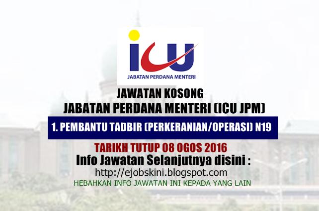 jawatan kosong di jabatan perdana menteri (icu jpm) ogos 2016