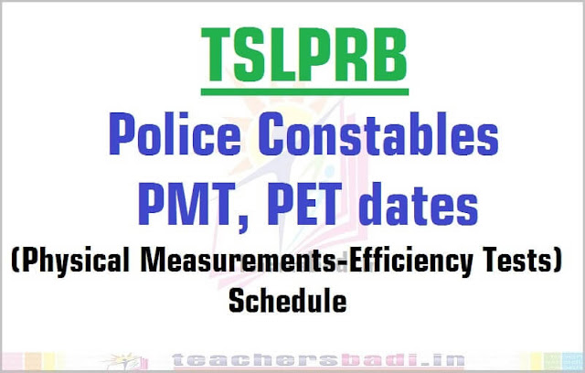 TSLPRB Constables,PMT,PET dates,Call/Intimation letter download