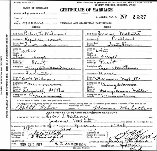 Marriage certificate for Robert L. Wilson in 1917