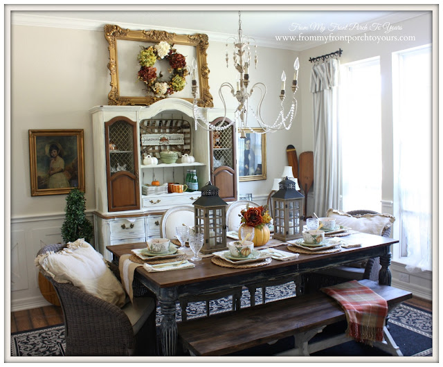 Planked Dining Table-French Country- Farmhouse-Fall Dining Room-From My Front Porch To Yours