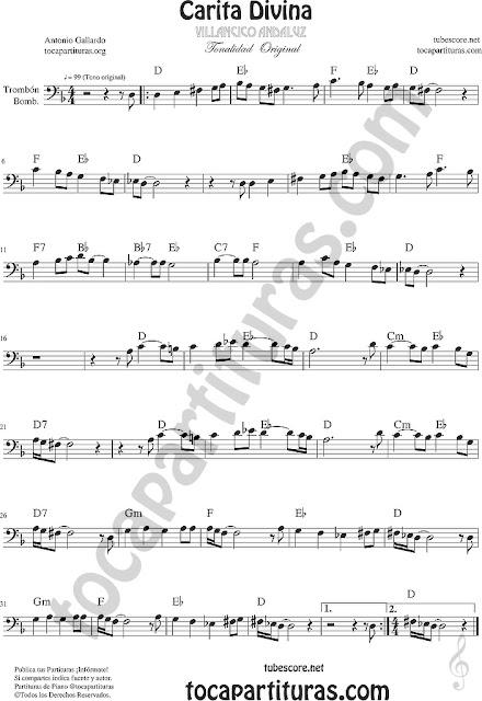Partitura de Carita Divina Trombón y Bombardino Partitura Sheet Music for Trombone, Euphonium Music Scores (tuba abajo)