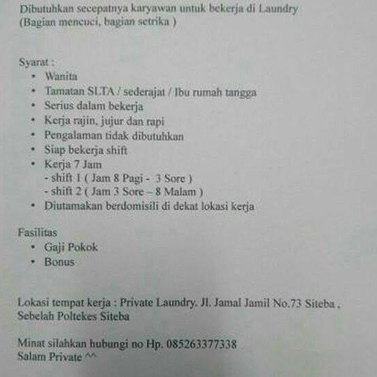 Lowongan Kerja Padang: Private Laundry Juni 2017