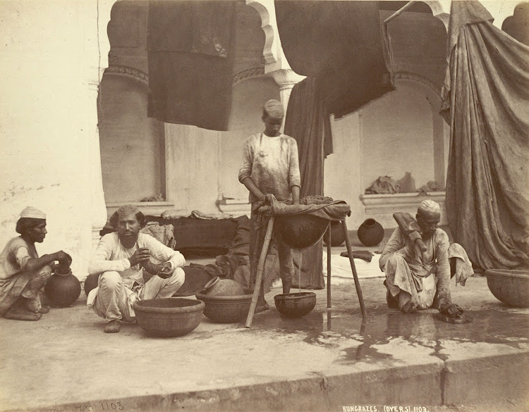 Group of Rangrez or Dyer Caste Members at Work at Delhi - 1863