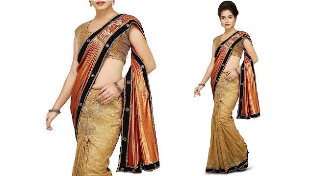 Aarti Saree Self Design Fashion Lycra, Net, Silk Saree  (Red, Beige)